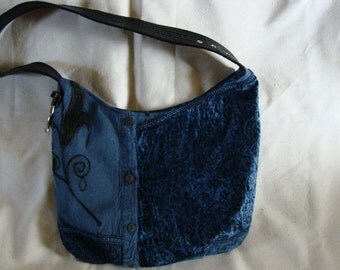 Rich blue rayon bag with black handle