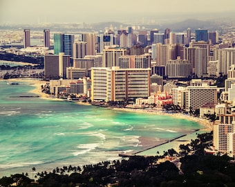 "Hawaiian Art, Hawaii Photography, Fine Art Print, Waikiki, Oahu, Honolulu, Skyline, Ocean, Beach, Aerial, Wall Decor - ""To Be Waikiki"""