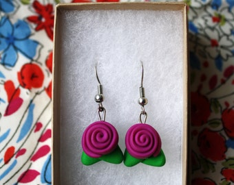 Dark Pink Rose Drop Earrings