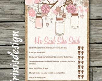 Bridal Wedding Hanging Mason Jars Floral Shower Game, He said She said, PRINTABLE, Print at home, DIY | 88