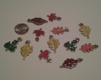 Fall Leaves Enameled Charms