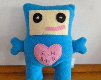 Personalized Stuffed Robot, Custom Plush Robot