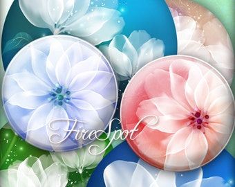 White Flowers-Digital Collage Sheet 20mm, 18mm, 16mm, 14mm, 12mm circle printable images.Glass Pendant.Bottlecaps,Scrapbooking