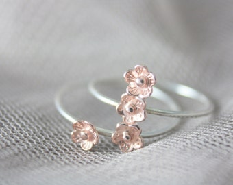 Sterling silver flower ring, silver ring, stacking ring, rose gold ring, cherry blossom ring, statement ring, jewelry, summer, gift for her
