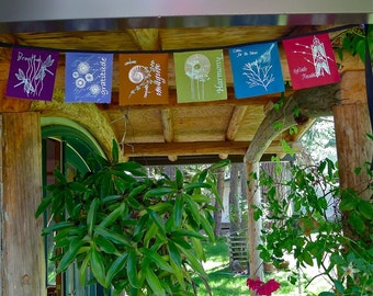 6 Intention raw Silk Prayer Flags for Home & Garden 6x6inch