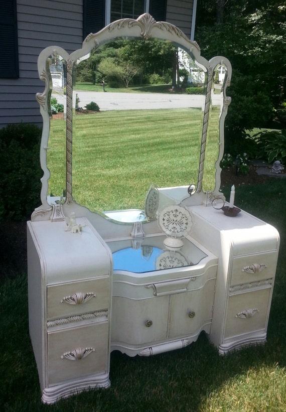 Vintage Waterfall Vanity And Armoire ~ Beautiful waterfall style vintage vanity redone in antique
