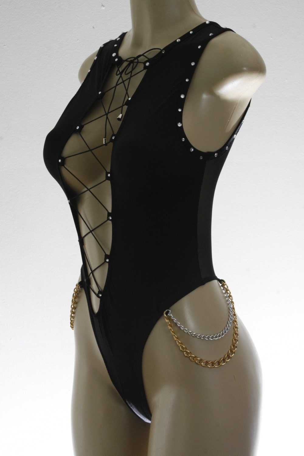 exotic dancewear black laced up one piece
