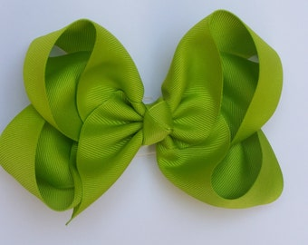 Large Lime Girls Boutique Bow Girls Big Hair Bow Girls Bow Jumbo Bow Lime Hair Bow