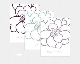 Floral All Occasion Notecards - Set of 3