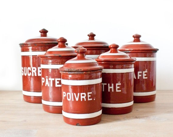 vintage french set of six burgundy and white enamel canisters 1000 id 233 es sur le th 232 me primitive canisters sur pinterest