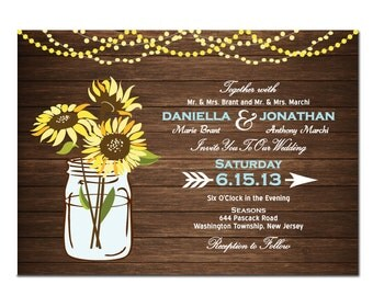 Sunflower Wedding Invitation DIY PRINTABLE Digital File or Print (extra) Wood Wedding Invitation Printable Sunflower Wedding Invite Blue