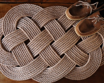Pro-Manila Rope Rug - Nautical Rope Rug - Mildew Resistant Rope Rug - Nautical Rope Mat - (32 x 19)