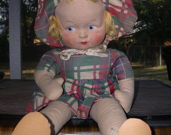 SALE --- a Plaid Dress antique Doll --- Reduced