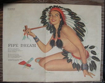 "SALE --- a large Esquire magazine centerfold image by Al Moore, titled ""Pipe Dreams"" --- Reduced"