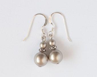 Platinum Pearl Earrings, Swarovski Pearl Earrings, Wedding, Bridesmaid, Platinum Earrings, 8mm Pearl Earrings, Sterling Silver Earwires