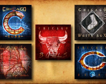 Blackhawks, Bears, Bulls, Cubs, White Sox Maps - 5-Pack Chicago Fan Ultimate Collection - Perfect Birthday, Anniversary - Unframed Prints