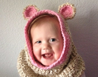 baby cowl neck, baby hood with ears
