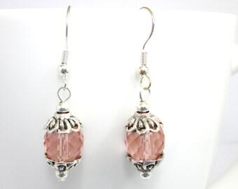 CLEARANCEPeach earrings, firepolish earrings, peach and silver, beaded earrings, peach jewelry, ER009