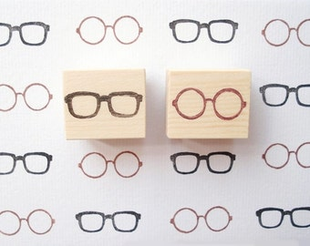 Glasses Rubber Stamp, Japanese Stationery, Custom Stamp, Gift Wrapping Idea, Johnny Depp Glasses, John Lennon Glasses