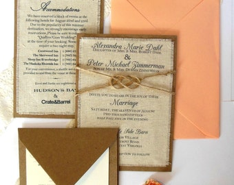 Rustic Burlap Fabric Wedding Invitation - Peach Coral Wedding Invitation