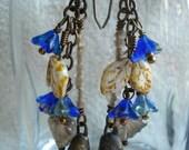 Brilliant Blues, Ceramics, Czech Glass, and Vintaj Brass Earrings