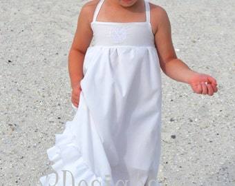 Girls Beach-Flower Girl Maxi White Ruffle Long Dress in sizes 18 month to size 12. Toddlers-Girls - Tween