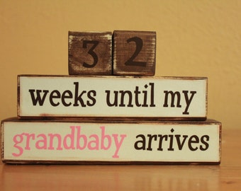 Mom Pregnancy Reveal to Grandparents- Maternity Countdown Blocks- Pregnancy Countdown Blocks- Grandma Countdown to Grandbaby Wood Countdown