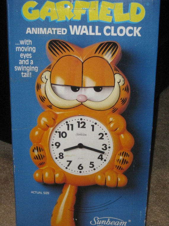 Garfield Wall Clock With Swinging Tail Moving By Retroplayland