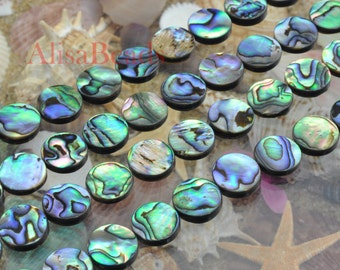 Abalone,flat coin,14mm,beads,15 inches