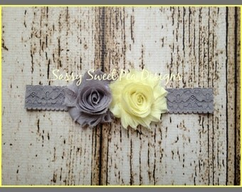Pale Yellow and Gray Shabby Chic Flowers on Gray Lace Headband.. Newborn, Baby, Girls Photo Prop Bow