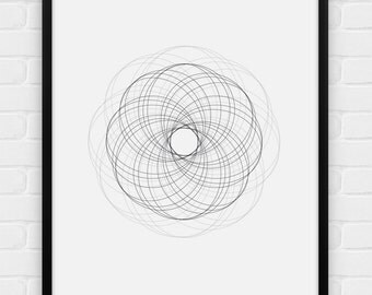 "Geometric Art - ""Flower"" - Printable Poster - Digital Art, Download and Print JPG"
