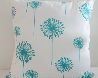 Big Dandelions Floral True Turquoise Home Decor Throw Pillowcase, Pillow Cover, Home Accent