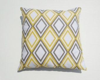 "Premier Prints Annie Slub Yellow, White and Gray throw PillowCase, Lumbar Cover size 16"" 17"" 18"" Available"