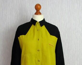 Vintage 90s Blouse, geometric print blouse / black mustard retro hipster shirt medium m large l