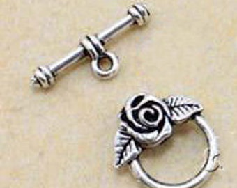 15 sets of Antiqued Silver fancy toggle clasps 16mm