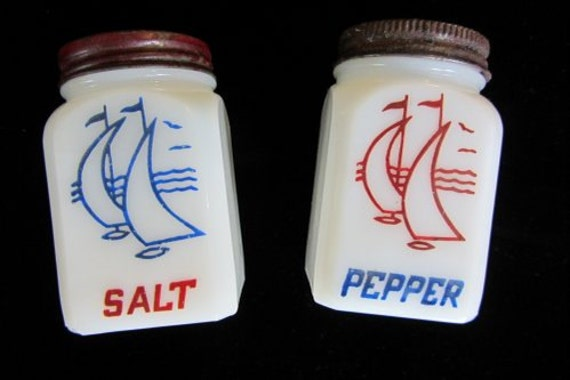 Antique Salt And Pepper Shakers Sail Boats Milk Glass