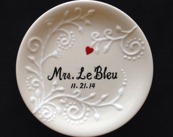 Ring dish, Engagement gift, Wedding gift , Valentine's day gift, ring holder- Anniversary plate, hand painted ceramic