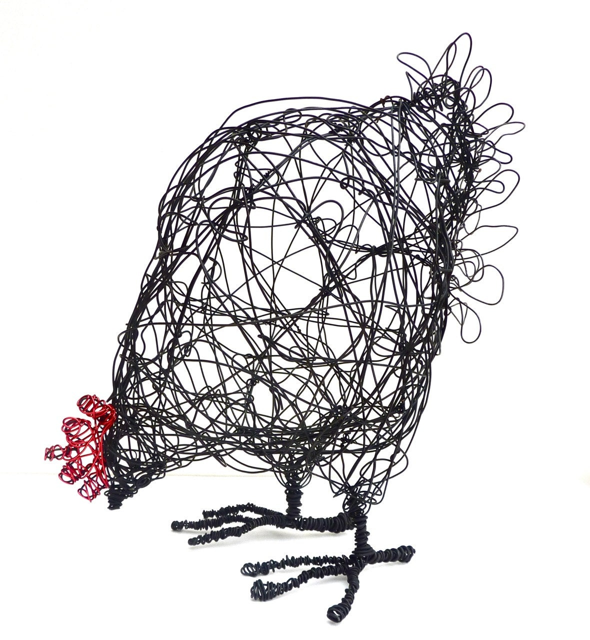 Wire hen sculpture pdf instructions template for Chicken wire art