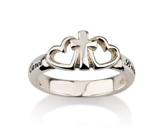 engraved cross ring 925 sterling silver by
