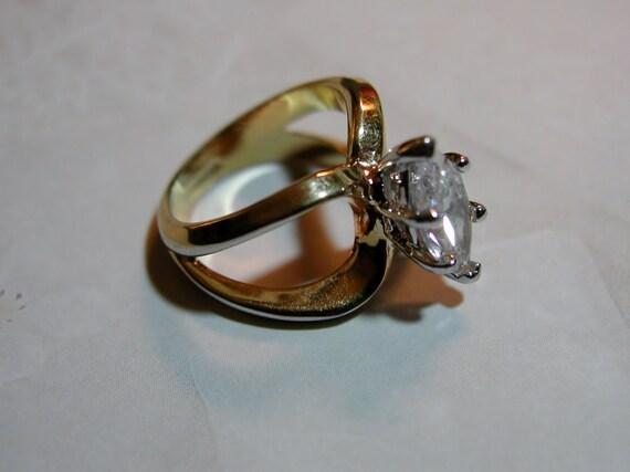 vintage cocktail ring large marquis cz gold ring 18k hge