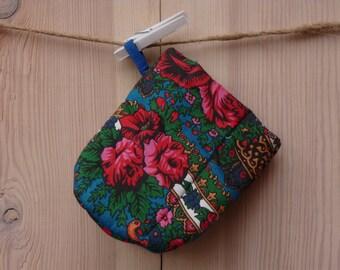 Oven Mitt, Ukrainian/Russian scarf floral ornaments,  Floral oven mitt, Potholder, Blue, Floral pattern