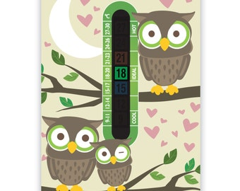 A6 Nursery and Childrens Owl Baby Room Thermometers