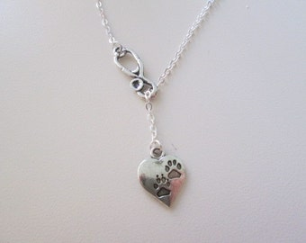 Choose your length - Silver Veterinarian or Vet Tech Necklace - Lariat Style