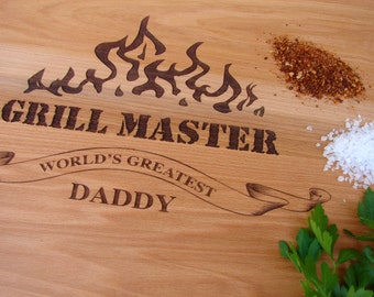 Grill Master Cutting Board World's Greatest Daddy Cutting Board Hostess Gift Birthday Present for him Father's Day Present Grilling Gifts