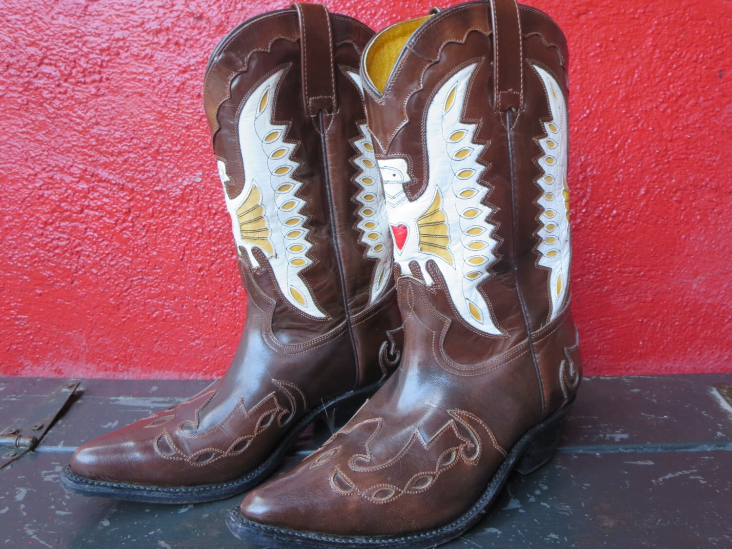 vintage leather tom houston cowboy boots inlay cowboy