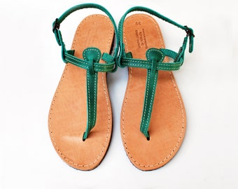 T Strap Green Leather Sandals, Barefoot Beach Sandals