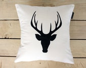 Calico Stag Head Throw Pillow- Hand Made Cushion Cover- Screen Printed
