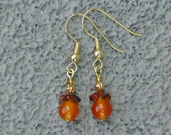 SALE Semi-precious carnelian and glass earrings boho everyday dangle drop SusanRodebushArts