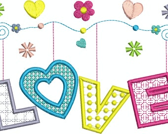 Love On a String Machine Embroidery Applique 4 Designs