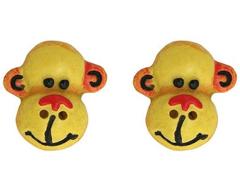 """SALE 2 Cheri Strole Monkeyin' Around 3/4"""" ( 20 mm ) Polyresin Sewing Buttons"""